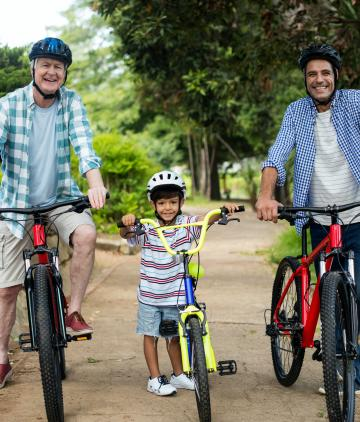 Male family members cycling