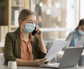 Employees wearing face masks office